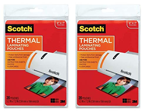 Scotch Thermal Laminating Pouches, 5 Inches x 7 Inches, 20 Pouches (TP5903-20) (2Pack)