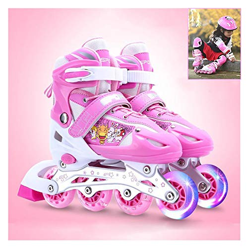 Hardworking person-ZHL in Line Skates, Children's Unisex Adjustable Skates with Detachable Wings, with Light Up Wheels Beginner Skates, for Kids Safe and Fun Illuminating for KidsPink-L (37~41)