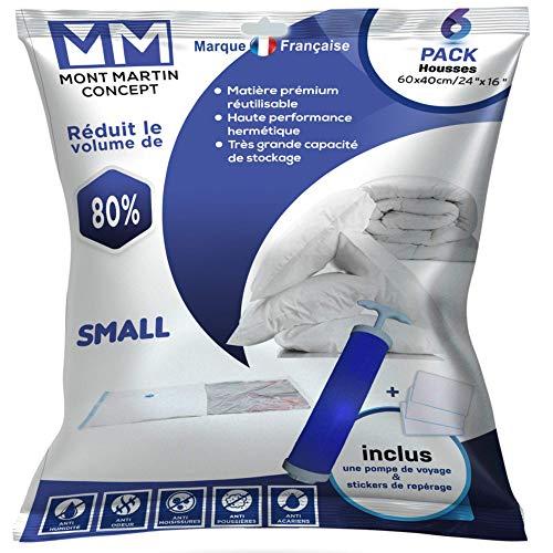 MONT MARTIN CONCEPT 6 Paquetes de 40x60 Bolsas de Almacenamiento de Ropa Reutilizables de Material Premium Bomba de Mano y Pegatinas Gratis Cubiertas de Vacío