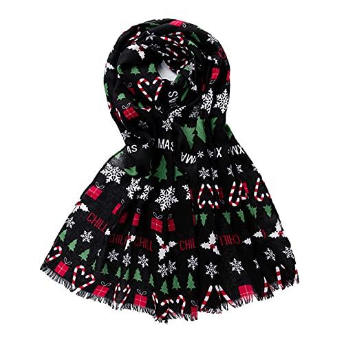 HUNOL Bufandas Fulares Mujer Fiesta,Estolas Suave Impresión Copo De Nieve árbol De Navidad Cálida Largo Primavera Invierno Aplicar Para Navidad Toda La Temporada-negro-50~180CM