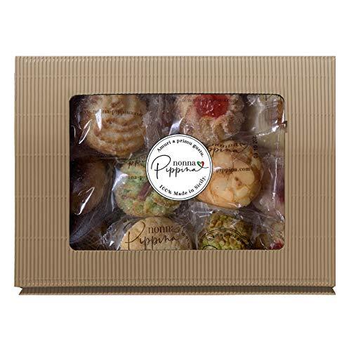 NONNA PIPPINA Pasticcini Siciliani, 600g, traditionell handgemachtes gemischtes Mandelgebäck aus Sizilien, in schöner Geschenk-Box, Glutenfrei