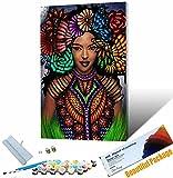 Vfvozr Pintar por Numeros Adultos DIY Retrato de Mujer Africana Pintura al oleo por Numeros con Pinceles y Pinturas Pintura por Numeros Flores DIY Pintura 40x50cm Sin Marco