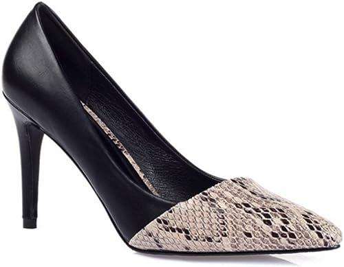 CHUANGXIE Serpentine Tips High Heels Stiletto zapatos Talla de mujer 31 32 33 Talla 40 41 43 zapatos de mujer 30-42, negro