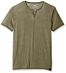 Two button notch neck Short sleeves Burnout fabric Tonal stitching