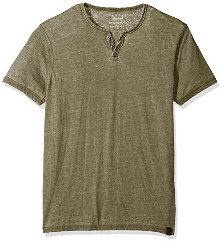 Lucky Brand Men's Venice Burnout Notch Neck Tee Shirt, Dark Olive, Large