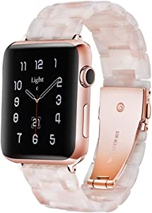 Light Compatible with Apple Watch Band 38mm 40mm 41mm, Adjustable Bracelet Resin iWatch Band for Apple Watch Series 7 6 SE 5 4 3 2 1(Flower Pink, 38mm/40mm/41mm)