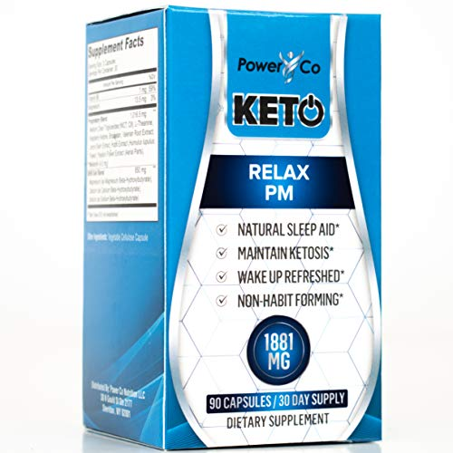PowerCo Relax PM Deep Sleep Formula - Adult Sleep Aid & Keto Diet Pills in One - Promotes Deep REM Sleeping While Promoting Nighttime Ketosis - 90 Capsules 1