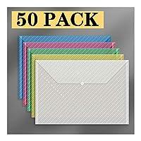 ビジネスクリップボード ポリエチレン封筒プラスチック封筒、50パックA4サイズ透明ファイルフォルダ、スナップクロージャ、クリア学校/ホーム/仕事/オフィス用封筒ファイリング 事務用品 (Color : C)