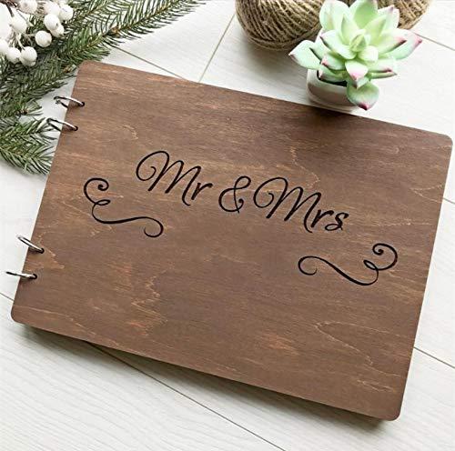 siqiwl Libro de visitas rústico de boda, libro de visitas, libro de visitas, grabado de madera, álbum de boda, regalo para parejas, tamaño A4 (100 páginas), modelo 2