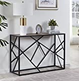 """Homissue 30"""" Height Console Sofa Table with Sturdy Criss-Cross Design for Hallway/Living Room/Entryway, Retro Brown"""