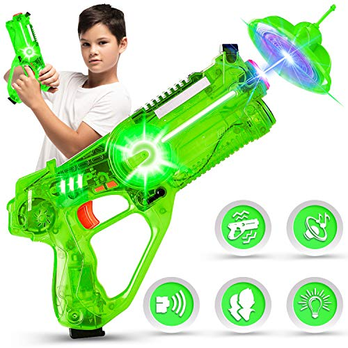 Toy Gun Infrared Gun Launchers with Flying Saucer as Target for Shooting Teen Toys with a Pocket Drone Tag Gun amp Quadcopter Game Boys amp Girls Green Blaster Gun and Quadcopter Set of 1 Green
