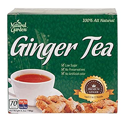 Natural Garden 100% All Natural Ginger Tea 10 Sachets - 6.3oz (Pack of 6)