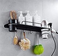 YSDHE ピュアブラック浴室の棚ヘアドライヤーホルダー浴室コーナー棚浴室カップホルダーシャワーバスルームアクセサリー