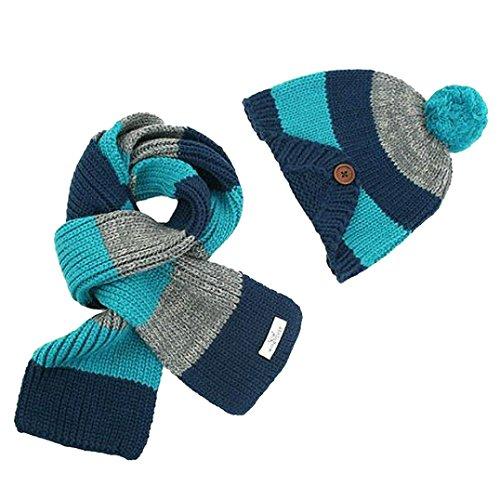 Ouneed®Enfant Unisex Hiver Echarpe trrcote + Bonnet a oreille (Bleu)