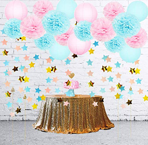 Twinkle Twinkle Little Star Gender Reveal Party Supplies Baby Shower Decorations Baby Blue Pink Paper Lanterns Pink Blue Gold Star Garland for Pink Blue Decorations/Gender Reveal Decorations