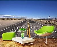 Ljjlm カスタム3D夢美しい砂漠の道ロックキャニオン写真壁紙壁画リビングルームレストランカフェ背景-350X230Cm