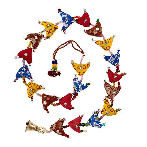 Paper High 20-Bird Bell Tota   Traditional Indian Hanging Decoration   Handmade   Recycled Fabric   Bedroom Decorations   Home Decor