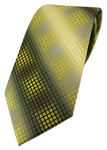 TigerTie - Corbata - Cuadros - para hombre Gelb Gold Silber Grau Schwarz Talla única