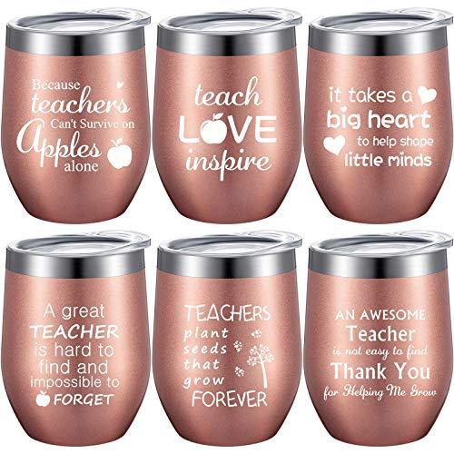 6 Pieces Thank You Gift Idea for Teachers, Teacher Appreciation Coffee Mug for Women Men Preschool Elementary High School Teacher, 12 oz Stainless Steel Tumbler with Lids Straws, Brushes (Rose Gold)