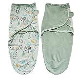 Zigjoy Swaddle Blanket Baby Adjustable 2 Pack Infant Sleep Sack 100% Cotton, Comfortable, Safe and Soft Newborn Swaddle Blanket for Boy Girl 0-3Months Babies Green