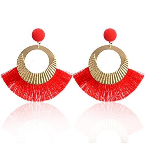 Fossrn Pendientes Mujer Baratos, Pendientes Largos Flecos Borla para Mujer (Rojo)