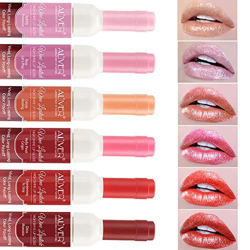 6 Set Weinflasche Lipgloss Tönung Wasserdicht Lippenstift Tönung Langlebig Kiss Proof Non-Stick...