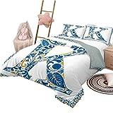 Funda nórdica Letra K Conjunto de Funda nórdica Lavable Resumen Artístico Hojas y Flores y Capital Inicial K Alfabeto Adornado Azul Amarillo Naranja Tamaño Completo
