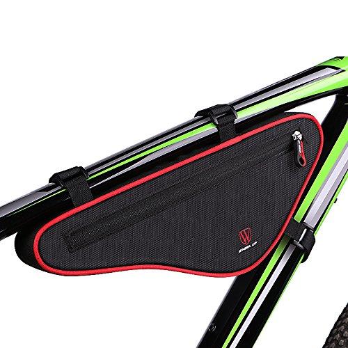 Xphonew, tasca per bicicletta, borsa da attaccare all'asta della bici, forma triangolare, per bici da strada, mountain bike, borsa con striscia riflettente , Black & Red