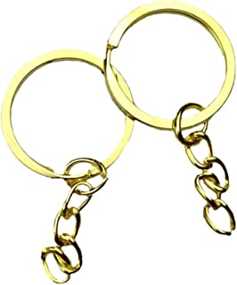 100 Pcs Jewelry Making Key Ring with Chains - Metal Key Chain Ring for DIY Craft Jewelry Making, Nickel Plated Steel, Gol...