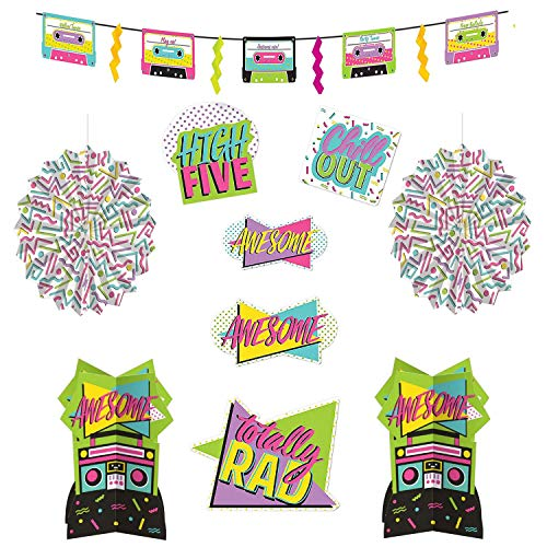 Awesome 80s Party Cutout Set. 10 pieces. Totally rad patterns including 5 cutouts, 3 hangng decorations and 2 table centrepieces.