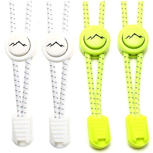 gipfelsport Elastische Schnürsenkel mit Schnellverschluss - Gummi Schnellschnürsystem ohne Binden | Schnürsystem für Kinder, Herren, Damen I 2X Paar: weiß/neon-gelb