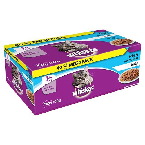 whiskas 1+ Years Complete & Balanced Cat Pouches Fish Selection in Jelly, 40 x 100g (4kg)