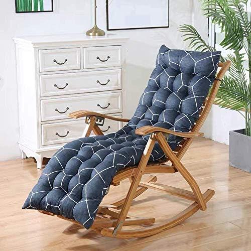 Topstylehouse Cojín para tumbona, suave, cómodo, portátil, de madera, para mecedora, reclinable, antideslizante, para viajes, camping, hogar, color azul marino, 155 x 48 cm
