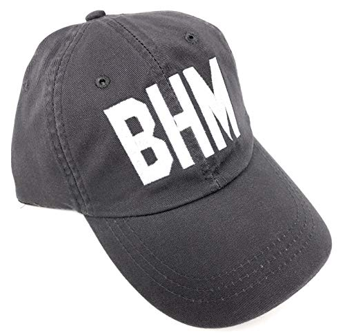 Embroidered BHM Birmingham-Shuttlesworth International Airport Code Baseball Hat (True Grey)