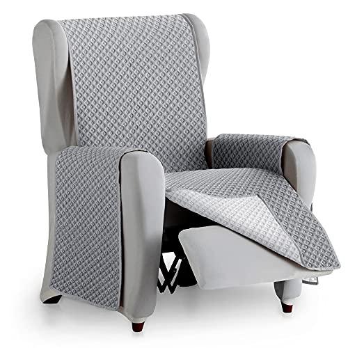 Vipalia Protector Funda Sillon relax. Cubre sofa 1 plaza. Cubre sillon reclinable acolchado reversible. Fundas para sofa antimanchas. Circulos. Color Gris Oscuro - Gris. Cubre sofa 1 Plaza/Relax 55 cm