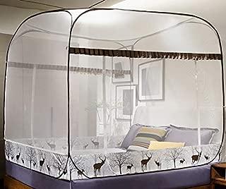 ワンタッチ 蚊帳 ファスナー付き キャンプ式 自立 34ドアタイプ 底付き 密度が高い ゆったり 広い 虫除け 蚊除け シングル ダブル ベッド用