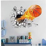 Wall Baloncesto Etiqueta Engomada 3D Autoadhesivo Rotura Extraíble Través De La Pared De Pared De Vinilo Pegatinas Murales Arte Calcomanías Decorador