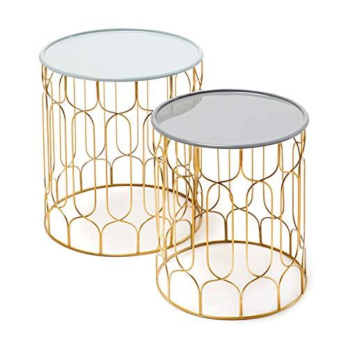 One Couture Table d'appoint, Gris Clair/Gris foncé, 38/43 x 38/43 x 44/49