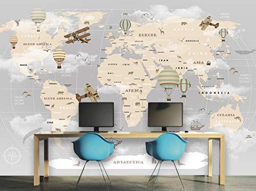 Papel Pintado Fotomural Mural Caricatura De Mapa Mundo Mapa Tejido No Tejido Decoración De Pared Decorativos Murales Moderna Diseno Fotográfico -200x140CM-XL