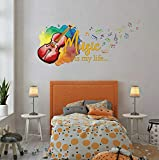 tjapalo® v70 Wandtattoo Mädchen Teenager spruch Wandtattoo Musik Jugendzimmer Wandtattoo Musik Spruch Music is my life mit Geige, Größe: B90xH37cm