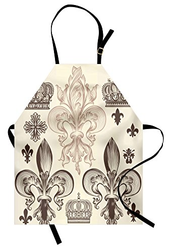 Lunarable Fleur De Lis Apron, Heraldic Pattern Royal Flower and Crowns Tiara Coat of Arms Knight, Unisex Kitchen Bib with Adjustable Neck for Cooking Gardening, Adult Size, Beige Taupe