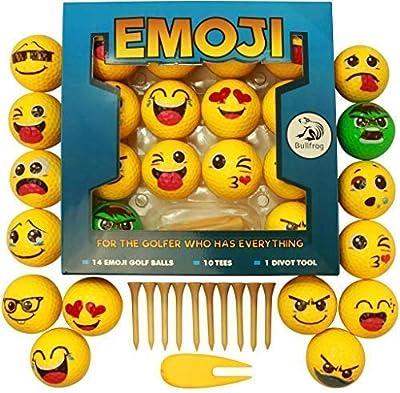 Emoji Golf Balls Deluxe Gift - Golf Gifts for Men, Women, Children - Gag Gift for The Golf Fan who has Everything Deluxe (14 Golf Balls, Fun) by Bullfrog