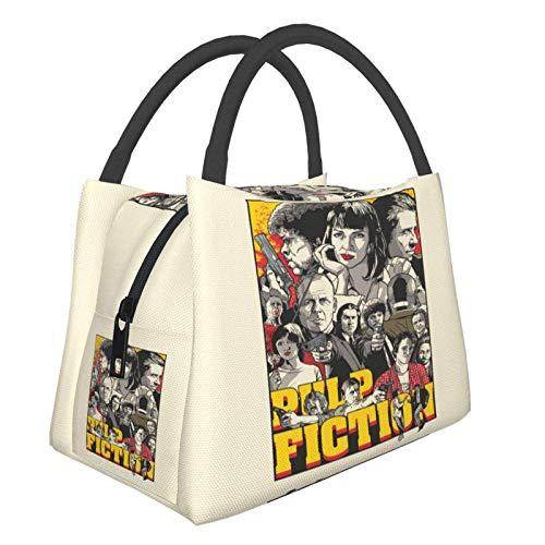Tarantino Illustration - Bolsa de almuerzo para mujer (tamaño pequeño), diseño de oficina de compras, escuela, picnic, viajes, camping