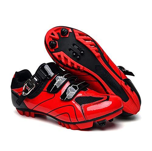 GSYNXYYA Fahrradschuhe, Rennradschuhe Atmungsaktive Außenzyklusschuhe, Mens MTB SPD Mountainbike-Schuhe (Ferse Höhe: 2 cm),Rot,45 EU