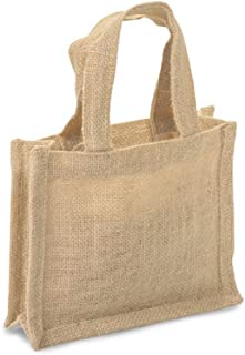 Small 100% Natural Jute Burlap Gift Bags w/Handles for Favors, Decorations (3, Natural)