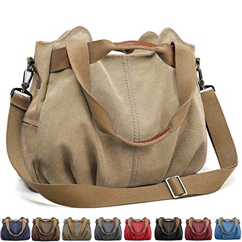 SCIEU Handtasche Damen Canvas Schultertasche Multifunktionale Umhängetaschen Casual Hobo Groß Taschen für Arbeit Schule Beach Shopper Khaki
