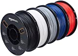 AmazonBasics - PETG 3D-Drucker Filament, 1,75 mm, Multipaket mit 5 Farben, 1 kg pro Spule, 5 Spulen, 5-Farben-Multipack