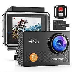 APEMAN Action Cam A77,4K WiFi 16MP Unterwasserkamera Digitale wasserdichte 30M Helmkamera (2.4G Fernbedienung und kostenlose Zubehör)