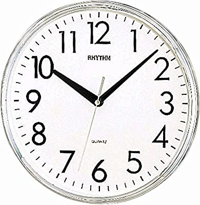Rhythm (Japan) Plastic Round Clock Value Added Wall Clock 3D Numerals, Silent Silky Move Plastic Case Analogue ⌀26x26x5.0cms