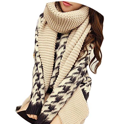Miya® modieuze dames herfst/winter lange gebreide sjaal, oversized grof gebreide sjaal, super zacht en hoogwaardig omhangsel,